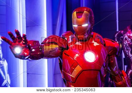 Amsterdam, Netherlands - March, 2017: Wax Figure Of Tony Stark The Iron Man From Marvel Comics In Ma