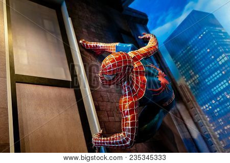 Amsterdam, Netherlands - March, 2017: Spiderman Marvel Comics In Madame Tussauds Wax Museum In Amste