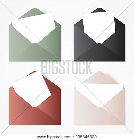 Set Opened Envelope . Illustration With White Envelopes.