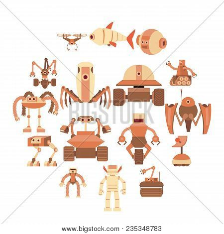 Robot Forms Icons Set. Cartoon Illustration Of 16 Robot Forms Vector Icons For Web