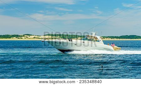 Provincetown, Cape Cod, Massachusetts Us - August 15, 2017 Boat And His Crew Looking For A Whale