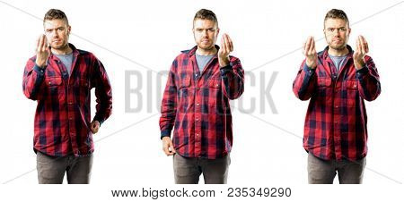 Young man angry gesturing typical italian gesture with hand, looking to camera isolated over white background, collage composition