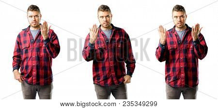 Young man irritated and angry expressing negative emotion, annoyed with someone isolated over white background, collage composition
