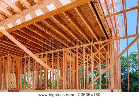 Wood Frame Interior Of A New House Under Construction
