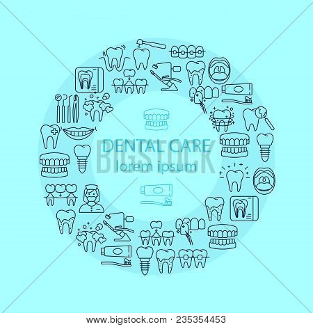 Dental Care Banner With Outline Flat Icons Of Denture Dental Hygiene Implant Roentgen Oral Cavity Ve
