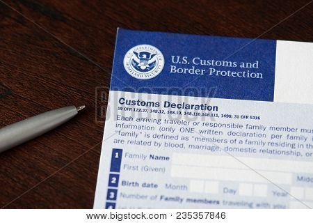 New York, Usa - April 9, 2018: Customs Declaration Form For Traveller Coming To Usa