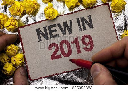 Conceptual hand writing showing New In 2019. Business photo showcasing Fresh Era Latest Year Period Season Annual Coming Modern written by Man Holding Marker Cardboard textured background poster