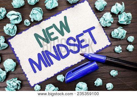 Writing Note Showing  New Mindset. Business Photo Showcasing Attitude Latest Concept Vision Behaviou