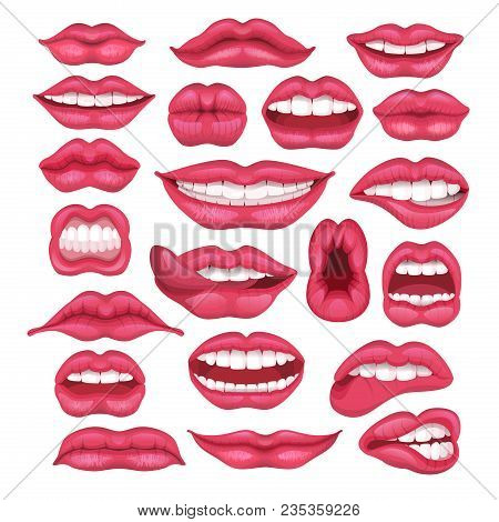 Lip Vector Cartoon Beautiful Red Lips In Kiss Or Smile And Fashion Lipstick And Sexy Mouth Kissing L