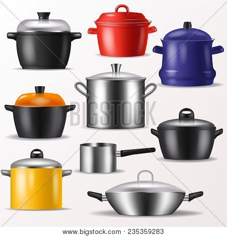 Pan Vector Kitchenware Or Cookware For Cooking Food And Kitchen Utensil Illustration Set Of Dishware