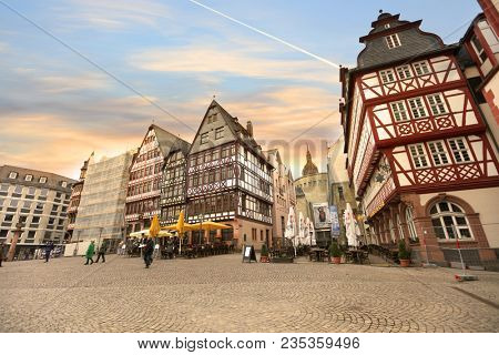 Frankfurt, Germany - 17.March, 2018: The Roemerberg,  a historical  old center of the city of Frankfurt (Main), Germany .