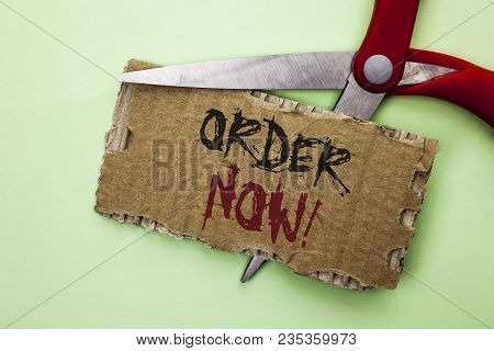 Text Sign Showing Order Now. Conceptual Photo Buy Purchase Order Deal Sale Promotion Shop Product Re