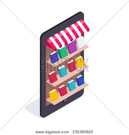 Isometric Concept Of Electronic Library. Mobile Phone With Books On The Shelves. 3d Concept Of Elect