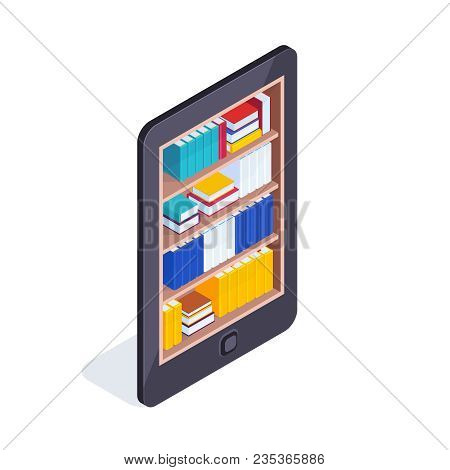 Isometric Concept Of Electronic Library. Mobile Phone With Books Inside. 3d Concept Of Electronic Bo