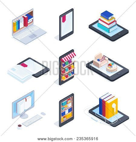 Set Of Isometric Icons Of E-books. Mobile Phone With Books On The Shelves. 3d Concept Of Electronic