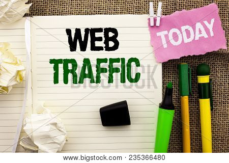 Writing note showing  Web Traffic. Business photo showcasing Internet Boost Visitors Audience Visits Customers Viewers written Notebooke Book the jute background Today Pens next to it. poster