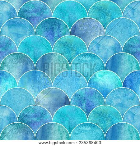 Fish Scale Ocean Wave Japanese Seamless Pattern. Watercolor Hand Drawn Blue Teal Turquoise Textured