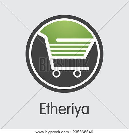 Virtual Currency Etheriya. Net Banking And Riya Mining Vector Concept. Blockchain Cryptocurrency Min