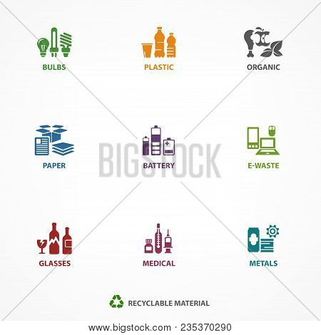 Garbage Waste Recycling Icons, Line Symbols Of Different Waste Sorting, Garbage Recycling. Vector Il