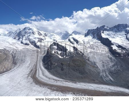 Monte Rosa Landscapes Of Alpine Glacier And Dufourspitze Highest Mount In Swiss Alps At Switzerland,