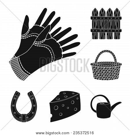 Farm And Gardening Black Icons In Set Collection For Design. Farm And Equipment Vector Symbol Stock