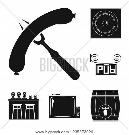 Pub, Interior And Equipment Black Icons In Set Collection For Design. Alcohol And Food Vector Symbol