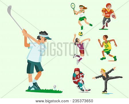Health Sport And Wellness Flat People Characters Sporting Man Activity Woman Athletic Vector Illustr