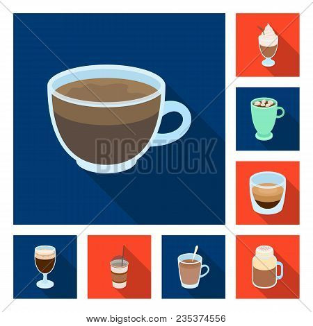 Different Kinds Of Coffee Flat Icons In Set Collection For Design. Coffee Drink Vector Symbol Stock