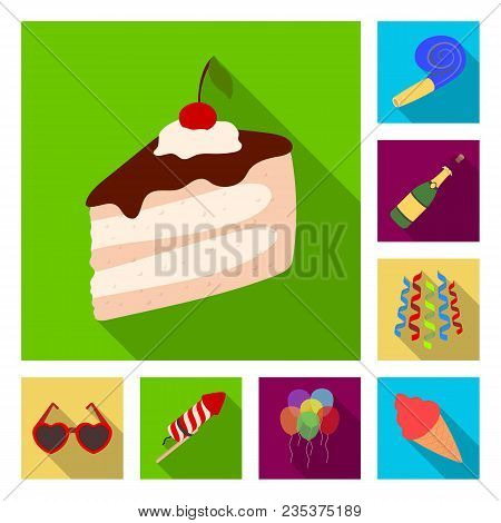 Party, Entertainment Flat Icons In Set Collection For Design. Celebration And Treat Vector Symbol St