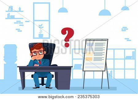 Business Man Sit At Office Desk Pondering And Thinking Flat Vector Illustration