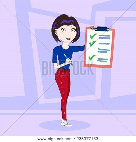 Successful Business Woman Holding Done Checklist Flat Vector Illustration