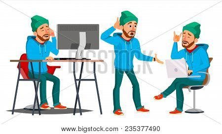 Business Man Character Vector. Working Male. Environment Process. Start Up. Bearded. Worker, Freelan