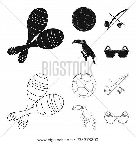 Brazil, Country, Ball, Football . Brazil Country Set Collection Icons In Black, Outline Style Vector