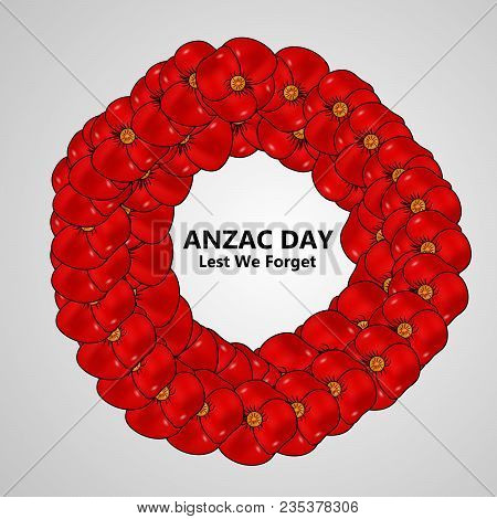 Illustration poppy flowers anzac vector photo bigstock illustration of poppy flowers with anzac day lest we forget text on the occasion of anzac mightylinksfo