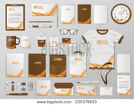 Corporate Branding Identity Template Design. Modern Stationery Mockup For Shop With Modern Orange Co