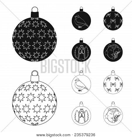 New Year Toys Black, Outline Icons In Set Collection For Design.christmas Balls For A Treevector Sym