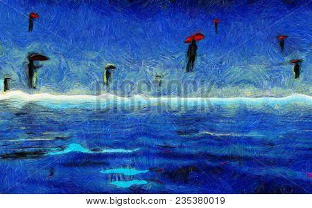 Surreal painting. Men flies with red umbrellas. 3D rendering