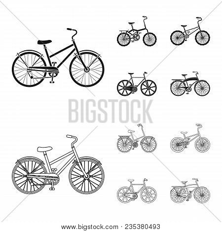 Children Bicycle And Other Kinds.different Bicycles Set Collection Icons In Black, Outline Style Vec