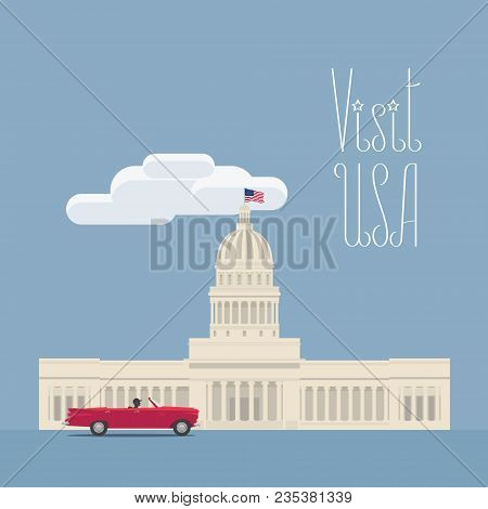 Visit Usa, Washington Image With Capitol Vector Illustration, Poster. Design Element With American C