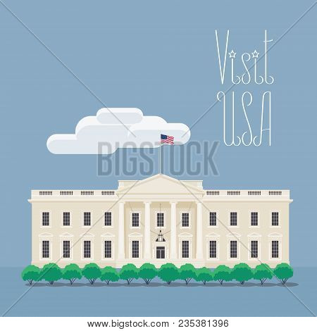 Visit Usa, Washington Image With White House Vector Illustration, Poster