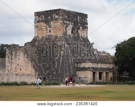 Chichen Itza, Mexico North America On February 2018: Ancient Ruins Of Great Ball Court Buildings, La