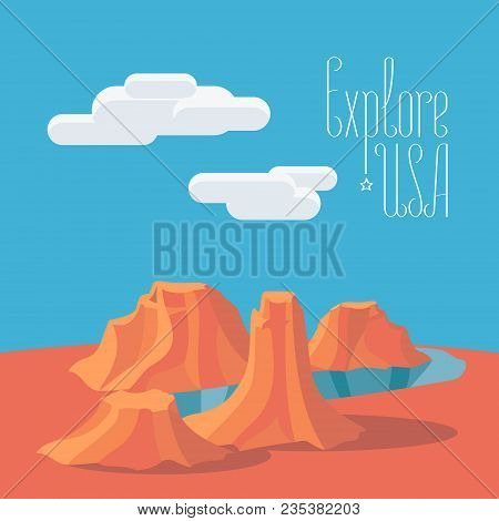 Visit Usa With Grand Canyon Vector Illustration, Poster. Design Element With Famous American Landmar