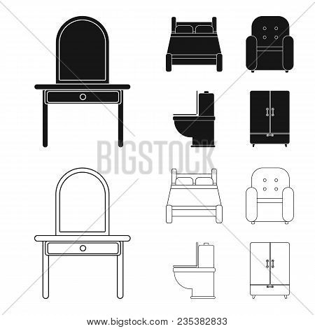 A Bed, An Armchair, A Toilet, A Wardrobe.furniturefurniture Set Collection Icons In Black, Outline S