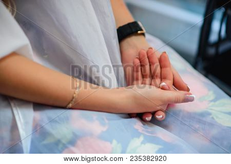 Hands Girls Of The Bride With A French Manicure Wedding Day Closeup
