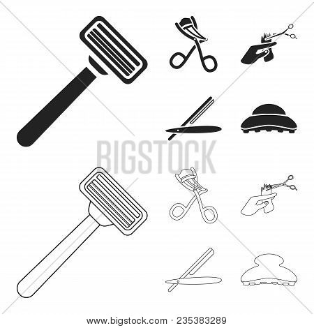 Scissors, Brush, Razor And Other Equipment. Hairdresser Set Collection Icons In Black, Outline Style
