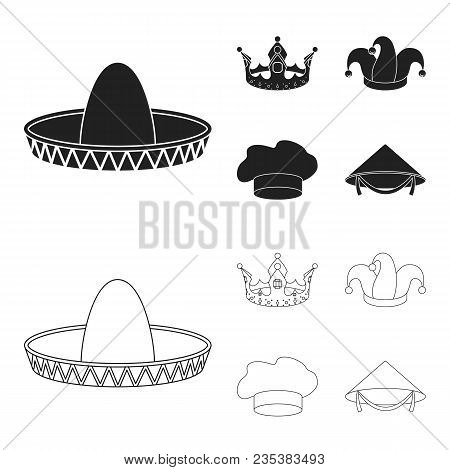 Crown, Jester Cap, Cook, Cone. Hats Set Collection Icons In Black, Outline Style Vector Symbol Stock
