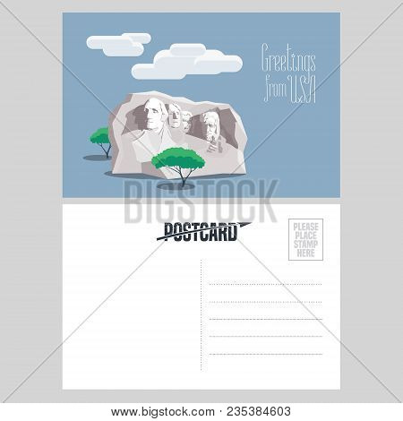 American Rushmore Mount In Template Postcard Vector Illustration. Design Element For Airmail Card Se