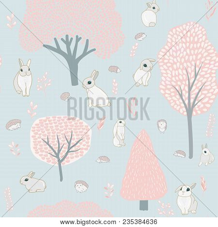 Spring Forest And Hares. Seamless Pattern. Trees, Hares, Hedgehogs And Plants. Pastel Colors, Tender