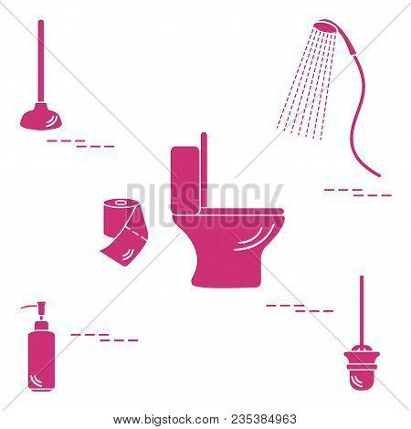 Vector Illustration With Toilet Bowl, Shower, Toilet Paper, Soap Dispenser, Plunger, Brush For Toile