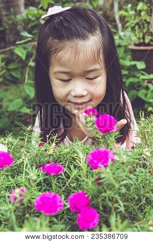 Adorable Asian Girl Admiring For Pink Blooming Flowers And Nature Around Backyard. Child Having Fun